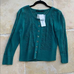 Blue green NWT  cardigan by Peruvian Connection